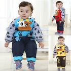 2 Pcs Cute Toddler Baby Boy Hoodie Down Coat Cow Thick Clothes Padded Pants 0-3Y