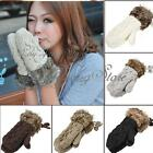 Women Girls Winter Warmer Fur Soft Knitted Wool Wrist Halter Gloves Mittens US