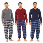 Mens Brushed Flannel Gingham Check Bottom With Cuff PJ Pyjama Set Nightwear New