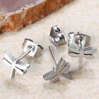 Pair Chic Cool Stainless Steel Dragonfly Bead Men's Earring Ear Stud Gift EE