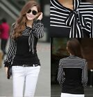 Fashion Women's Stripe Puff Long Sleeve Tops T-Shirt Blouses with Bow New