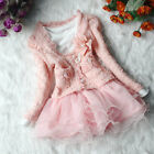 Hot kid Girls Toddler Lace Outfit Jacket Tutu Pearl Flower Top Dress Party Cloth