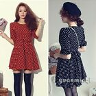New Vintage Women Half Sleeve Polka Dot Casual Chiffon Evening Party Mini Dress