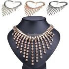 Luxury Women Crystal Layer Tassel Long Bib Pendant Necklace Choker Rhinestone SH