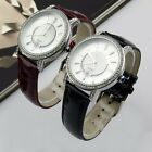 WH025 2 Colors men's leather Diamond Bracelet Style Wrist Quartz Analog Watch