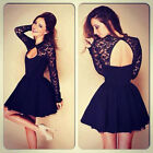Sexy Women Floral Long Sleeve Lace Backless Evening Party Mini Dress Gorgeous