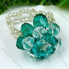 1pc Crystal Glass Bead 2-Layer 20mm Flower Cocktail Finger Ring Ladies Jewelry