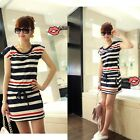 Women Summer Cotton Short Sleeve Pocket Tunic Striped Casual Party Mini Dress