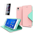 Cellto Flip Wallet Card Stand Case Cover Screen Protector for Sony Xperia Z3