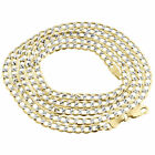 Mens 10K Yellow Gold Diamond Cut Curb Cuban Chain Necklace Pave 3.5mm 16-30 Inch