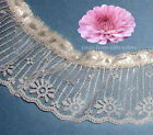 """Lace Trim Beige Ruffled 3"""" Beading w/Ribbon Fabric RY02V More Ship Free BTY"""