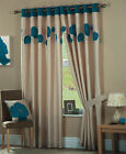 Eyelet Lined Curtains Ready Made Ringtop Danielle Teal Blue