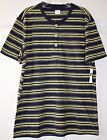 ~Gap ~Navy & Yellow Striped Henley Shirt~Size M~NWT