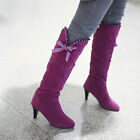 Lady Sexy Knee High Boots 8cm High Heels Shoes Bow Boots 4Colors US4-11