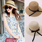 C99D Womens Wide Large Brim Folding Summer Sun Floppy Hat Straw Beach Caps New
