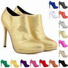 FASHION PLATFORM HIGH HEELS LADIES WOMENS CASUAL ANKLE BOOTS SHOES SIZE UK2-9