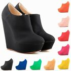 Elegent Ladies Platform Matt Leather High Heels Ankle Boots Wedges Shoes US 4-11