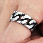 Men's Silver Curb Classic Polished 316L Stainless Steel Finger Biker Rings