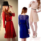 New Women Long Sleeve Evening Sexy Party Lace Skater Short Cocktail Mini Dress