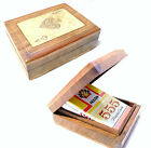 Hand Carved Wood Playing Cards BOX Card Deck Storage Holder