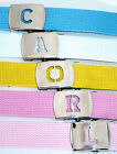 H to N INITIALED SILVER Metal Buckle Military Style Canvas WEB Fabric Belt