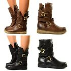 Biker Bottes Femmes Cuir Boots Chaussures Motard MADE IN ITALY Souple 379