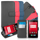 LEATHER WALLET FLIP STAND CASE FOR ONEPLUS ONE SMARTPHONE - MAGNETIC CLOSURE