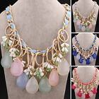 Teardrop shape Multi Color Resin Stone Beads Circles Gold Plated Bib Necklace