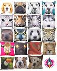 NEW LARGE ANIMALS CUSHION COVER & INSERT DOG CAT TIGER WOLF SLOTH PLUS MANY MORE