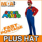 Deluxe Super Mario Bros Mens Fancy Dress Plumber Game Gaming Adult Costume + Hat