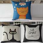 V1NF Cute Cat Print Cotton Linen Throw Pillow Case Cushion Cover Decoration New
