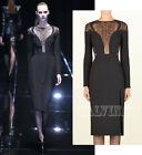 $3,000 RUNWAY GUCCI DRESS BLACK SILK CADY  FERN LACE