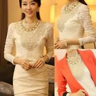 2014 Womens High Neck Lace Long Sleeve Tops T-Shirt Blouse Pullover Coat Beige