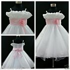 P818 Pinks Whites Princess Wedding Party Flower Girls Dresses SIZE 1 to 12 Years