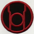 """3.5"""" Red Lantern Corps Classic Style Embroidered Iron-On Patch on Black Fabric"""