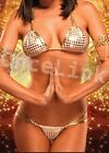 Sexy Lingerie Clubwear Disco Gold Metallic Bathing Bra Top Suit Swimwear Bikini