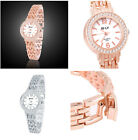 Fashion Crystal Cover Silver Gold Casual Watch Quartz Wrist Girl's Women's Watch