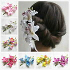 Women's Butterfly Orchid Flower Hair Clip Barrette Pin Bridal Wedding Prom Party