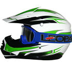 Leopard LEO-X16 Youth Kids Motocross MX Helmet Motorbike Green/White & Goggles