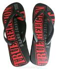 NEW TRUE RELIGION MEN'S PREMIUM SANDALS RUBBER FLIP FLOPS MALIBU BLACK SIZE 8