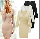 Personality Women Sexy V Neck Long Sleeves Slim Knit Knitwear Sweater Dress - LA