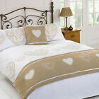 Layla Gold Love Heart Cream Duvet Quilt Set Bed in a Bag Cushion Cover Runner