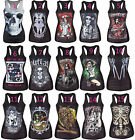 Women shirt Painting Cool Film Pattern 3D Skull bone Camisole print Vest Top