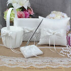 Wedding Supply Satin Guest Book & Pen Set Ring Pillow Flower Girl Basket Garter