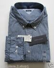 Tommy Hilfiger Mens' L/S Custom Fit Navy Blue Stripe Casual Button Front Shirt