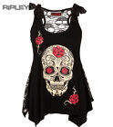 JAWBREAKER T Shirt Goth Top Sugar SKULL BOW Roses Vest Top Lace All Sizes