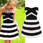 Evening Party Cocktail Sexy Women Sleeveless Mini Striped Pleated Short Dress EA
