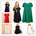 1pc New Women Fashion Loose Pierced Lace Short Sleeve Bottoming Dress Skirt Hot
