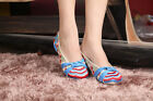 Women Embroidered Slippers Shoes Chinese  Blue Red Sandals Wedge Heel