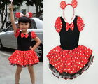 Girl Minnie Mouse Pary Fancy Costume Ballet Tutu Dress+Ear 2-10Y Kids Gift